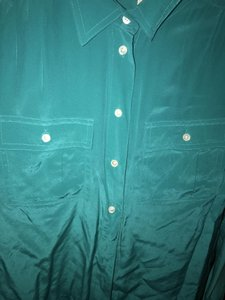 J.Crew Silk Summer Preppy Comfortable Classic Button Down Shirt Turquoise/Teal