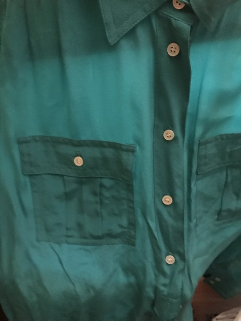 J.Crew Silk Summer Preppy Comfortable Classic Button Down Shirt Turquoise/Teal Image 1