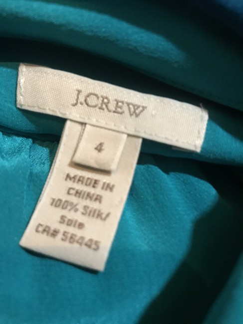 J.Crew Silk Summer Preppy Comfortable Classic Button Down Shirt Turquoise/Teal Image 2
