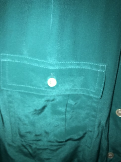 J.Crew Silk Summer Preppy Comfortable Classic Button Down Shirt Turquoise/Teal Image 3