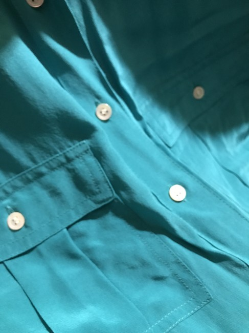 J.Crew Silk Summer Preppy Comfortable Classic Button Down Shirt Turquoise/Teal Image 4