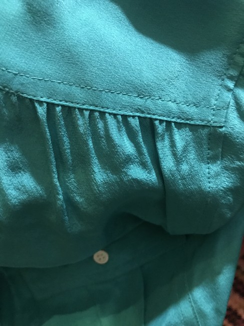 J.Crew Silk Summer Preppy Comfortable Classic Button Down Shirt Turquoise/Teal Image 5