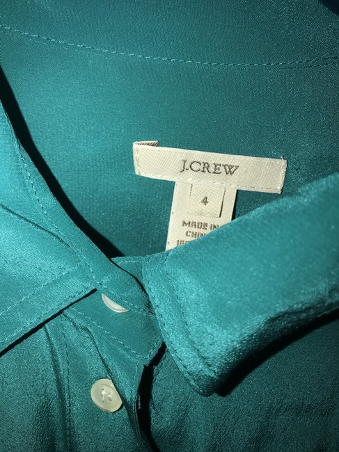 J.Crew Silk Summer Preppy Comfortable Classic Button Down Shirt Turquoise/Teal Image 7