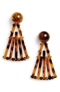 Cult Gaia Cult Gaia Fan Ark Tortoise Shell Acrylic Large Statement Drop Earrings - item med img