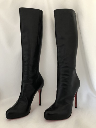Christian Louboutin High Heels Otk Over The Knee Thigh High Platform Black Boots Image 2