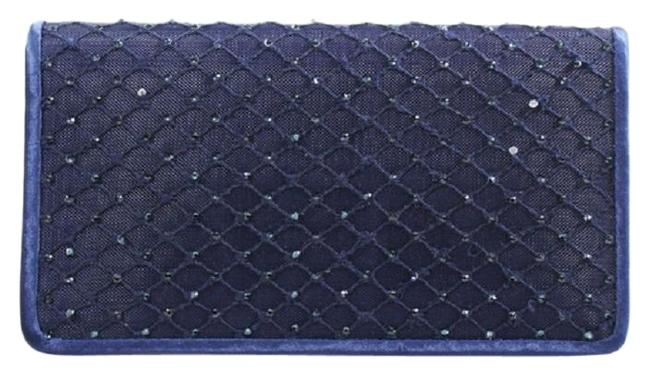 Item - Sigrid Small Navy/Silver Polyester Satin Clutch
