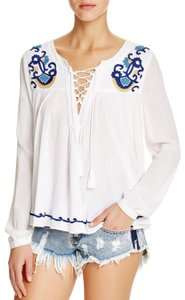 Lovers + Friends Top white blue yellow