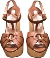 Salvatore Ferragamo Calf Leather Gold Details Natural Straw Hand-stitch Tan Wedges