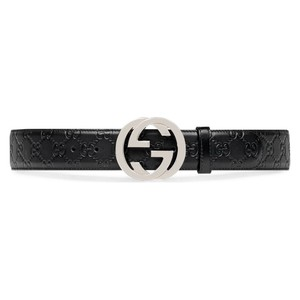 38c544aae Gucci NEW Gucci Black Signature Leather Interlocking Belt Size 85