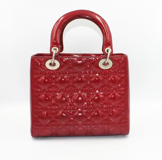 Dior Patent Leather Silver Hardware Tote in Dark Red Image 1