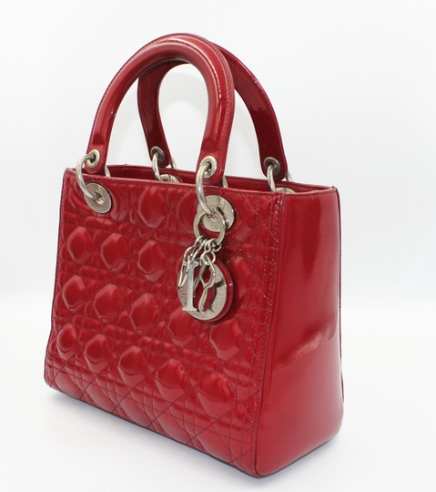 Dior Patent Leather Silver Hardware Tote in Dark Red Image 10