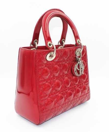 Dior Patent Leather Silver Hardware Tote in Dark Red Image 11
