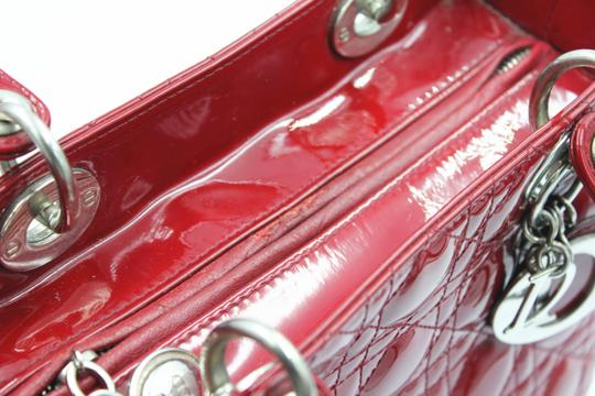 Dior Patent Leather Silver Hardware Tote in Dark Red Image 2