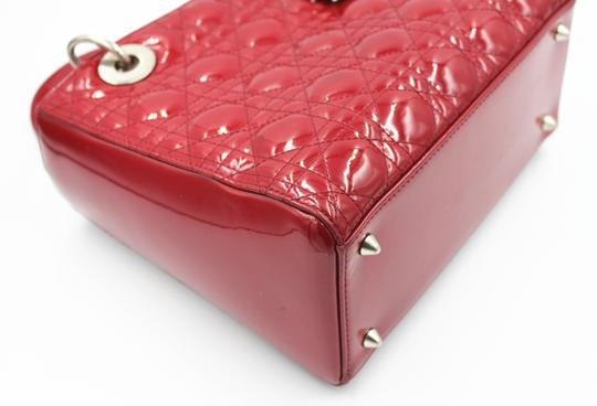 Dior Patent Leather Silver Hardware Tote in Dark Red Image 3