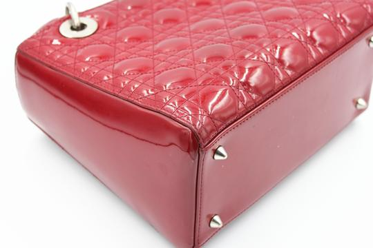 Dior Patent Leather Silver Hardware Tote in Dark Red Image 4