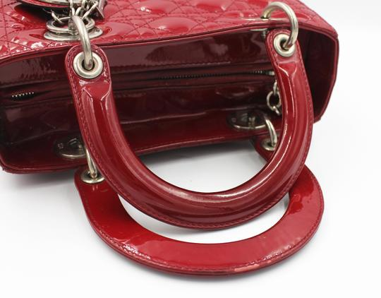Dior Patent Leather Silver Hardware Tote in Dark Red Image 7
