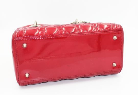 Dior Patent Leather Silver Hardware Tote in Dark Red Image 9