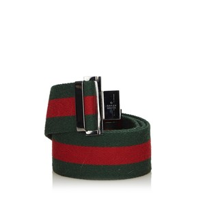 Gucci Gucci Green with Red Canvas Fabric Web Belt Italy SMALL