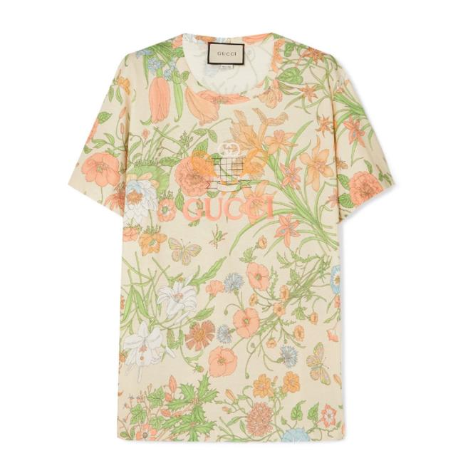 Gucci Logo Embroidered Floral Tee Shirt Size 8 (M) Gucci Logo Embroidered Floral Tee Shirt Size 8 (M) Image 1