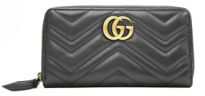 Gucci Authentic GG Gucci 2 Way Zip Around Wallet Black Leather