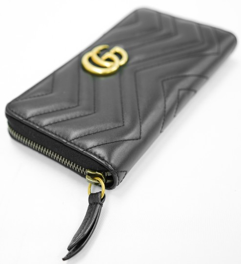 Gucci Authentic GG Gucci 2 Way Zip Around Wallet Black Leather Image 3