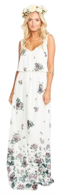 Item - White with Details Kendall Maxi Falls Long Formal Dress Size 4 (S)