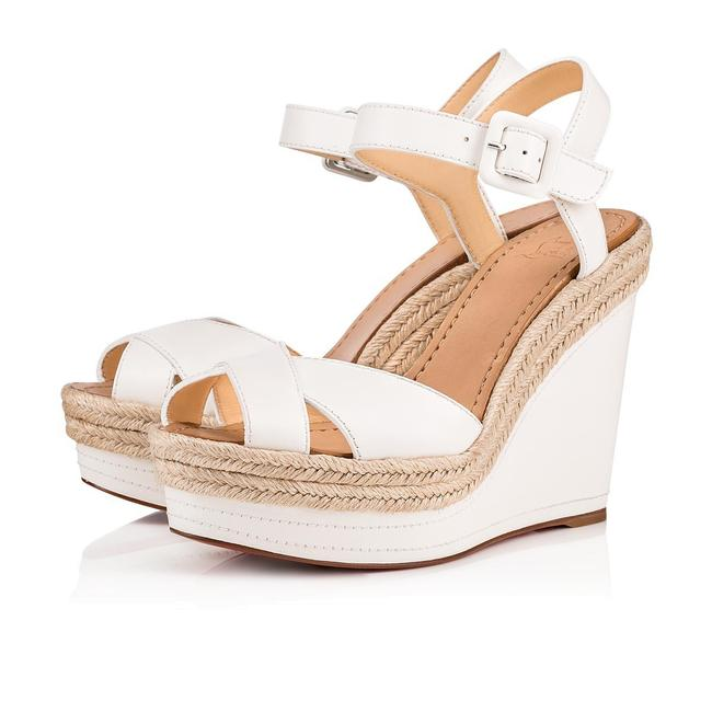 Christian Louboutin White Almeria 120 Leather Espadrille Wedge Sandals Size EU 36 (Approx. US 6) Regular (M, B) Christian Louboutin White Almeria 120 Leather Espadrille Wedge Sandals Size EU 36 (Approx. US 6) Regular (M, B) Image 1