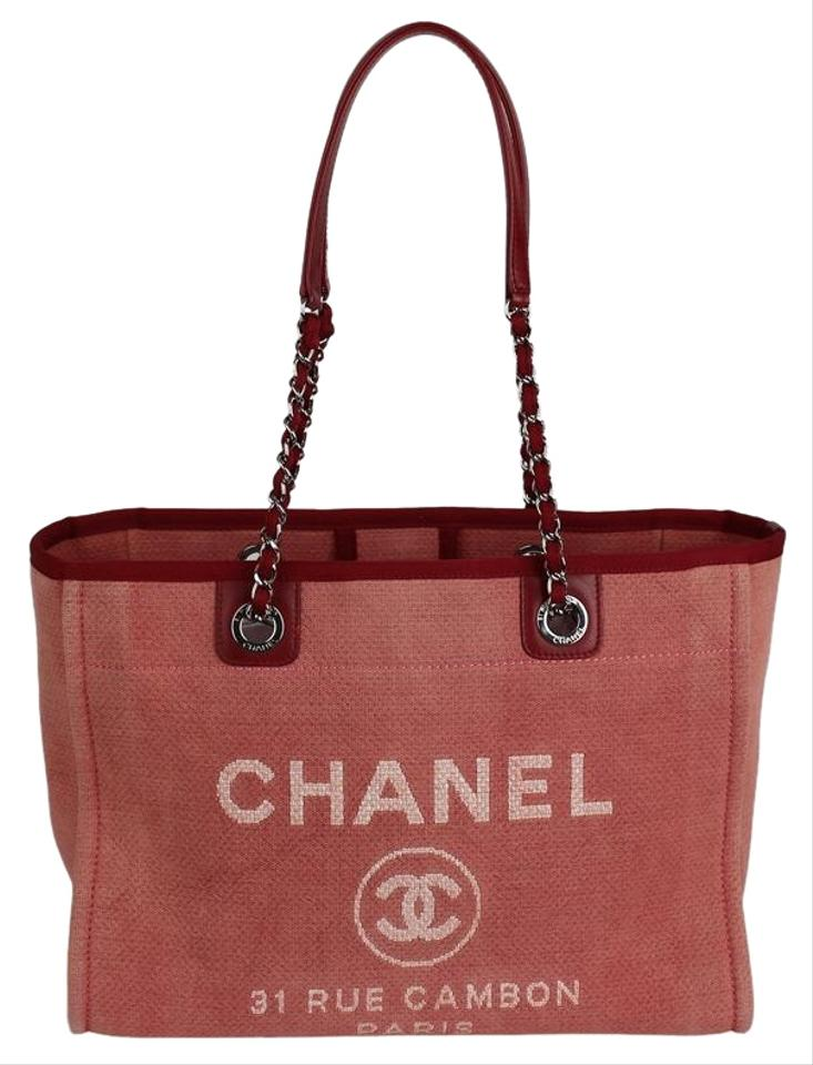 56477b9f848 Chanel Deauville Bag Near New Denim Large 7522 Red Canvas Tote 40% off  retail