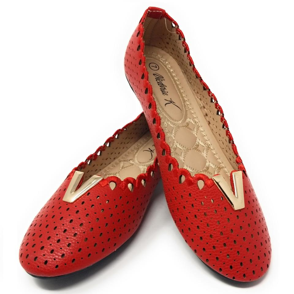 66fb4b1f255 Red B-2855 Women's Laser Cut Slip On Loafer Ballet Flats Size US 9 ...