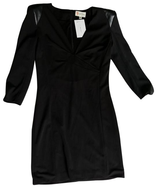 Item - Black Faux Leather Padded Shoulder Night Out Dress Size 4 (S)