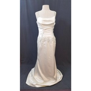 Enzoani Ivory Satin Evanston Retro Wedding Dress Size 6 (S)