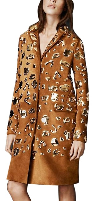 Item - Tan W Suede Leather Wearable Art W/ Gold Metal Embellishments Coat Size 6 (S)