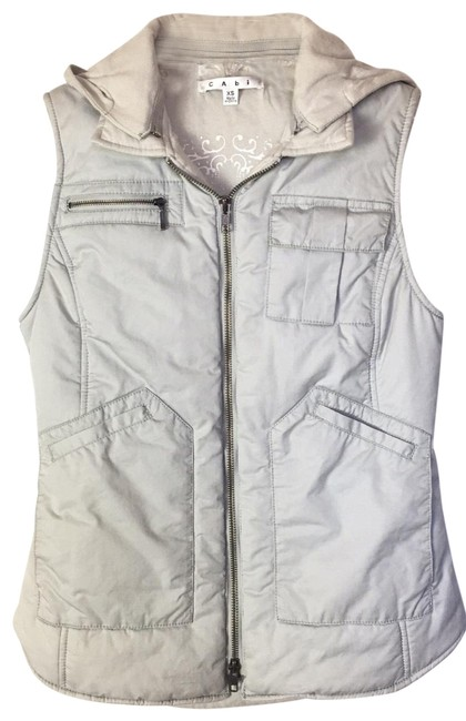 Item - Light Gray Vintage Style Puffer Hoodie Vest Size 2 (XS)