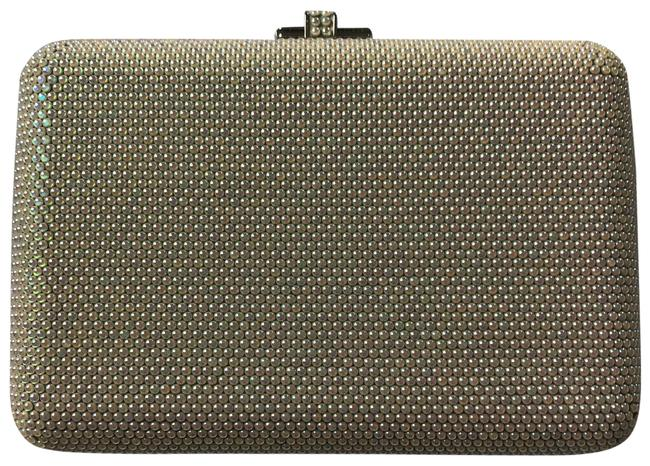 Item - Box Anthracite Slim Slide Iridescent Leather Pearl Beading with Metal Clutch