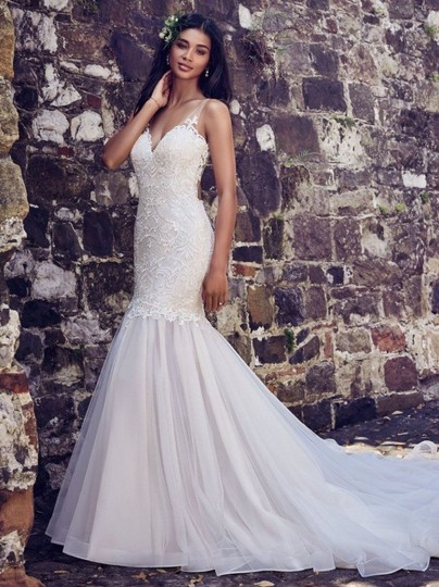 Maggie Sottero Ivory Over Antique Ivory Lace and Tulle 8mc564 Adaleine Vintage Wedding Dress Size 8 (M) Image 1