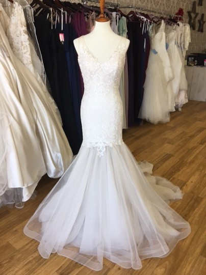 Maggie Sottero Ivory Over Antique Ivory Lace and Tulle 8mc564 Adaleine Vintage Wedding Dress Size 8 (M) Image 8