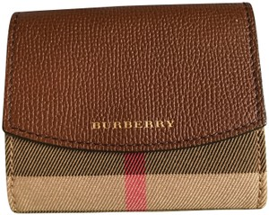 Burberry Burberry Luna tan brown House Check canvas print leather wallet.
