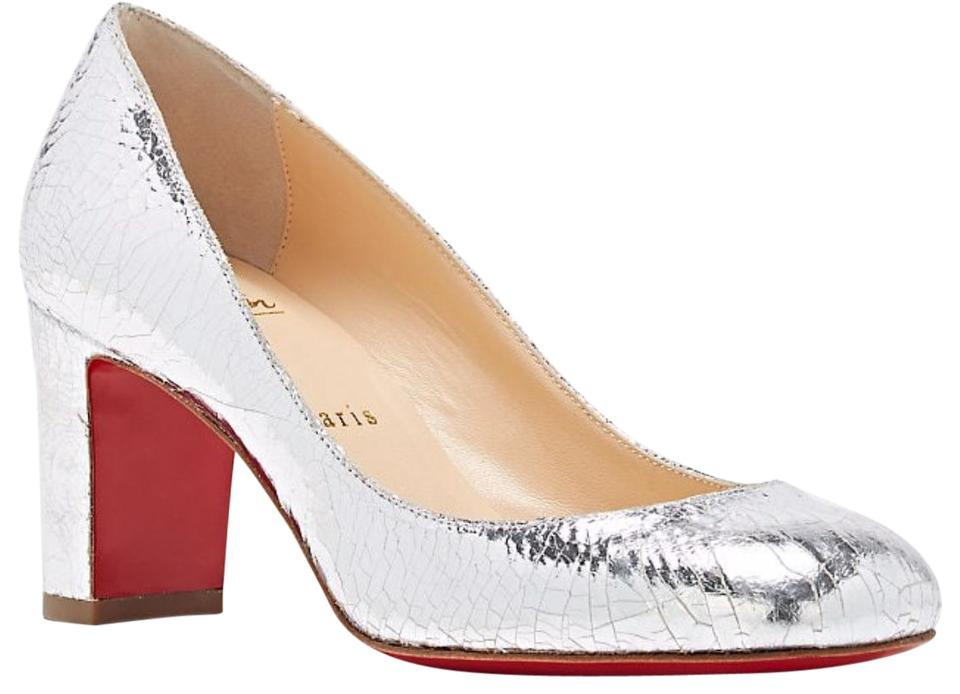 new products db799 3b038 Christian Louboutin Silver Cadrilla 70 Crackle Specchio Square Toe Classic  Heels B851 Pumps Size EU 35.5 (Approx. US 5.5) Regular (M, B) 41% off ...