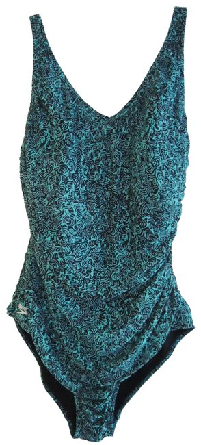 Item - Jade Green and Black Print Ladies Swimsuit Pc Shirred Tank - + One-piece Bathing Suit Size 10 (M)