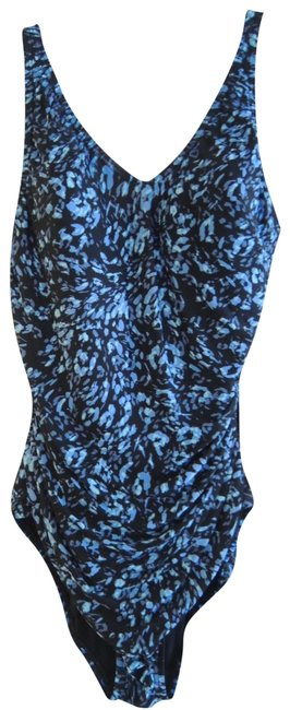 Item - Blue and Black Print Ladies Swimsuit Pc Shirred Tank + One-piece Bathing Suit Size 10 (M)
