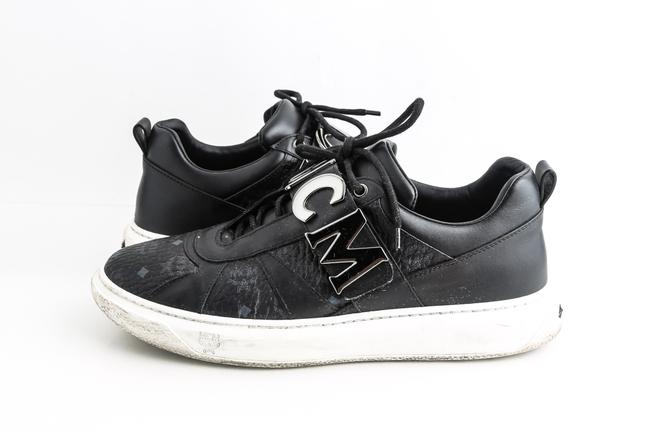 Item - Black Logo-strap Leather Mid-top Sneakers Shoes