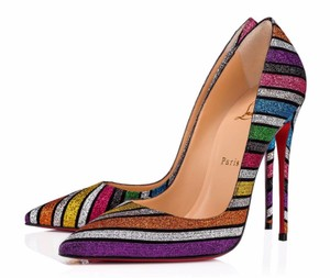 Christian Louboutin Striped Rainbow Glitter Heels So Kate multicolor Pumps