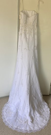 David's Bridal White Satin with Tulle Overlay T8722 Traditional Wedding Dress Size 4 (S) Image 1