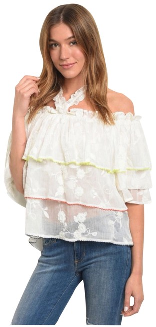 Item - Off White Halter Lace Embroidered Ruffle Blouse Size 4 (S)