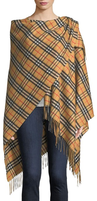 Item - Antique Yellow Bnwt Vintage Check Cashmere Wool Poncho/Cape Size OS (one size)