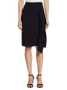 Roland Mouret Ruffle Pencil Zip Skirt Black