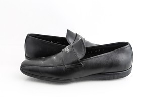 Prada Black Leather Penny Loafer Shoes