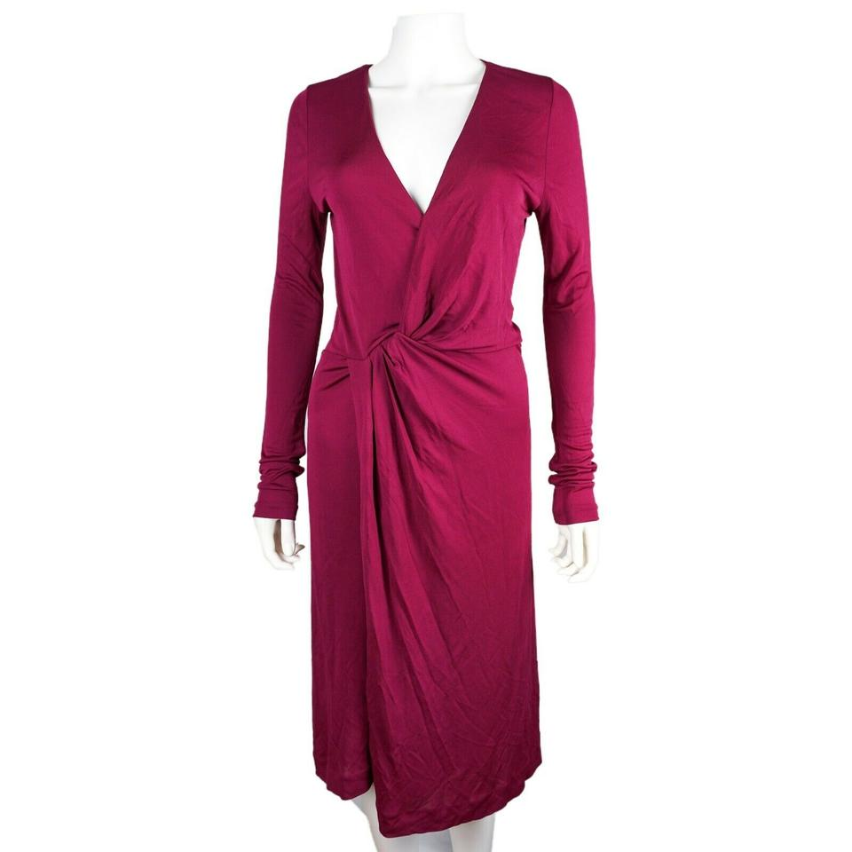 Gucci Maroon Surplice Knit Red Neck Long Sleeve Large Us Mid Length Night Out Dress Size 10 M 50 Off Retail