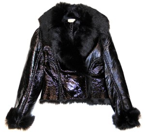 ALAÏA Azzedine Patent Shearling Fur Leather Jacket