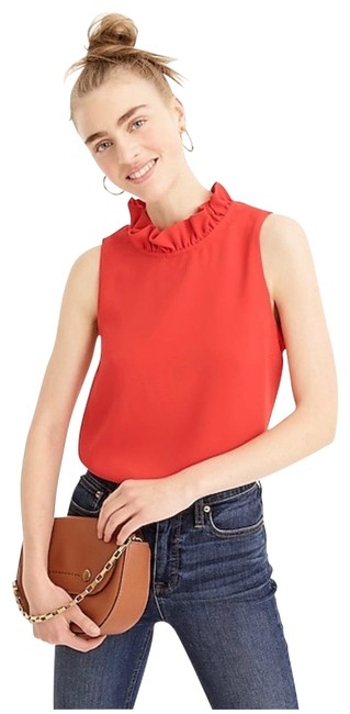 Item - Ruffle-neck In 365 Crepe Red Top